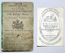 Contribution card for the London Saddle and Harness Makers' Trade Protection Society, 1878