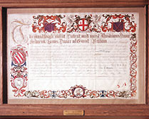 Prince Frederick's City Freedom certificate, 1736, showing his Saddler affiliation; bought at auction by the Company in 1962